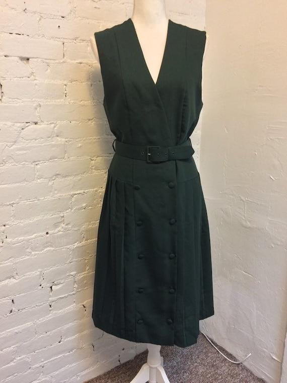 Laura Ashley Vintage 90s Sleeveless Dress Pleated… - image 1