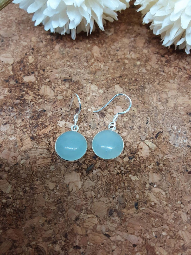 Aqua Chalcedony 925 Solid Sterling Silver Round Drop Earrings