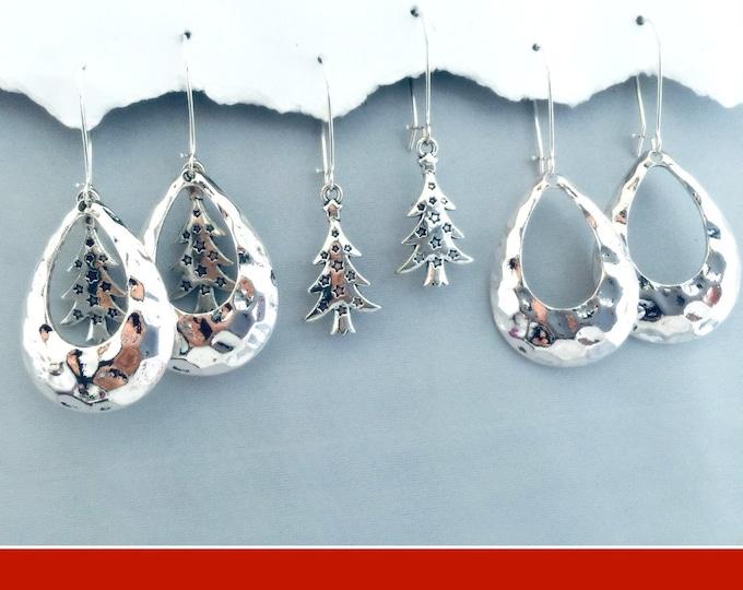 Christmas Teardrop Earrings, Set 3, Black Friday, Hammered, Christmas Tree, Interchangeable Earrings