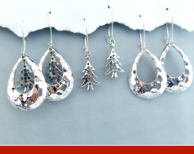Christmas Earrings Silver- Christmas Trees, Black Friday, Hammered Teardrop Special Price