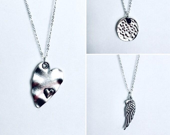 Heart Necklace - SALE, 4 pendant Necklace Set, 75% OFF, Interchangeable