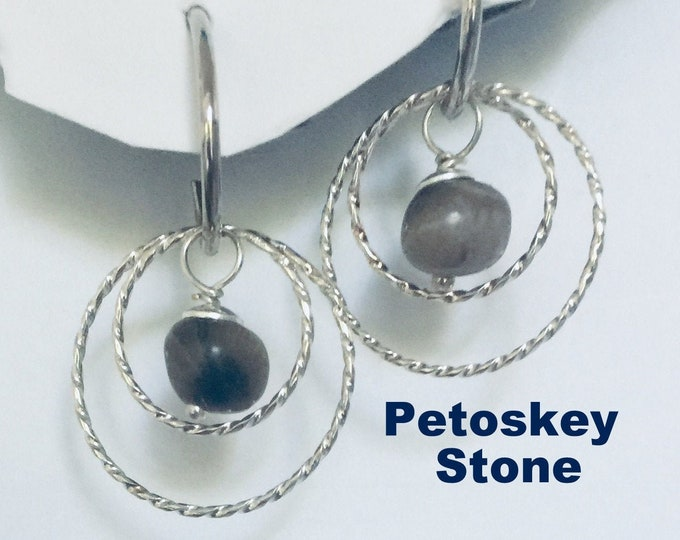 Petsoskey Stone Earrings- Made in Michigan Earring set w natural Petoskey Stones