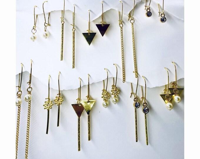 Minimalist gold Earrings, Gold dangle Earrings, Tiny Gold Dainty, Chic, Simple Gold Earrings, Geometric