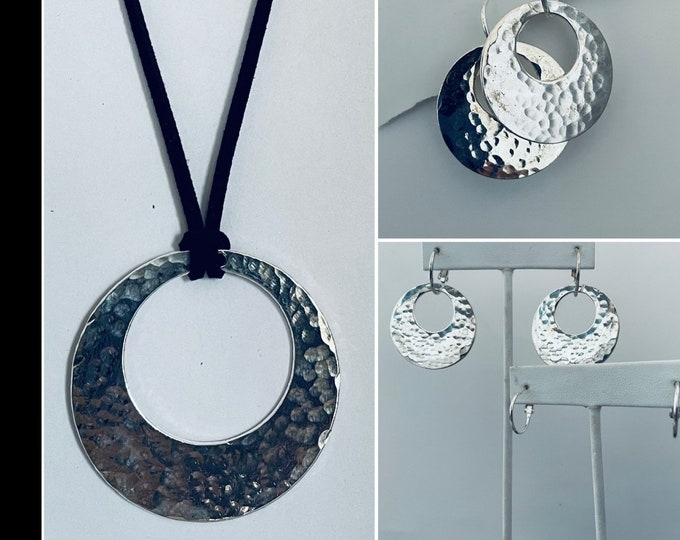Hammered Necklace Set- Hammered Earrings, Hammered Necklace, Interchangeable, Bold Necklace Set