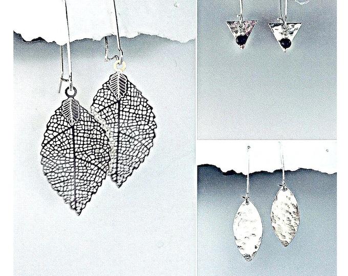 Minimalist Earrings Silver, Hammered, Interchangeable, leaf earrings, Silver, Onyx, Pearl Earrings