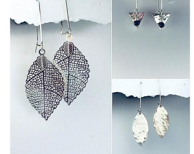 Minimalist Earrings- Hammered Earrings, Interchangeable, Hammered leaf Earrings, Fall, Silver, Onyx, Pearl, Earrings