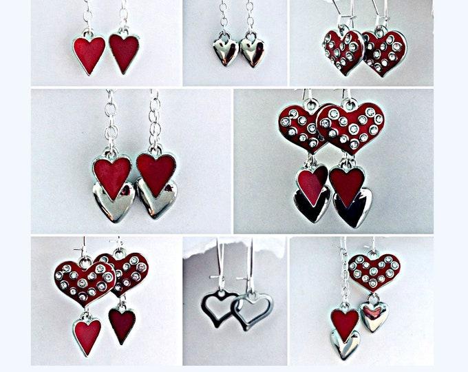 Valentines Earring Dangle-Valentines Day, Heart earrings, 8 earrings in one, slide on Earwires for earring designs.
