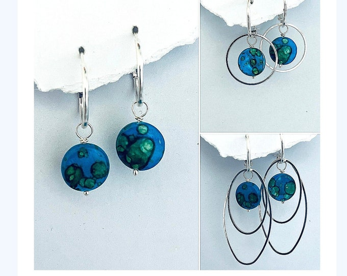 Earth Earrings- Interchangeable, Natural Shell, Hoops, Earring Sets,