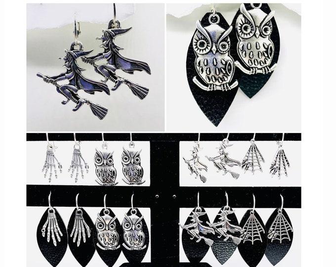 Witch Earrings, Halloween owl Earrings, Halloween skeleton earrings,