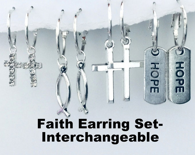 "Faith Earring Set - Interchangeable Crosses, fish and ""hope"" charms create various earring designs"