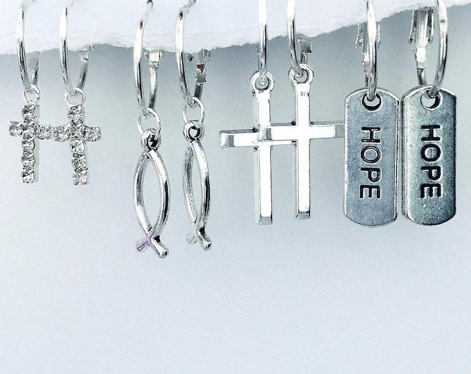 Christian Earrings, Interchangeable Cross, fish and hope earrings, Faith Earrings, inspirational earrings