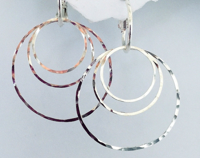 Hammered Earrings - Interchangeable Silver Circles, 30 design options w Onyx, Gray Lustre Pearls and more.