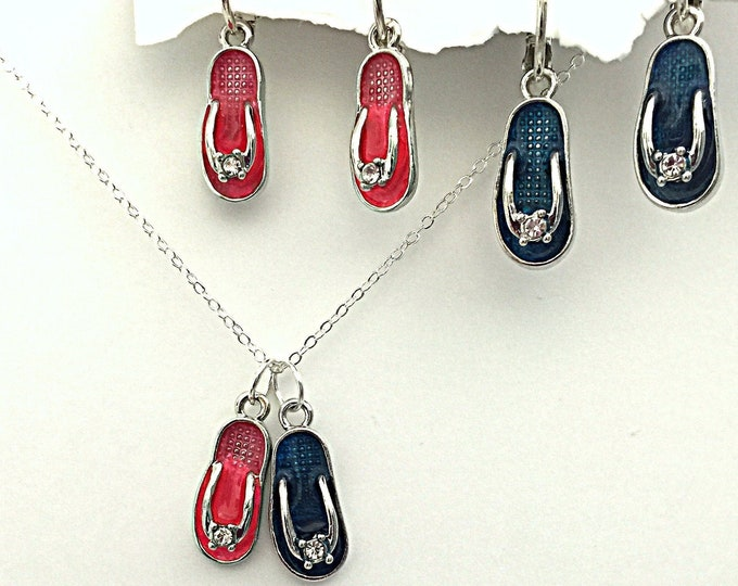 Flipflop Jewelry Set- Interchangeable summer earrings and necklaces