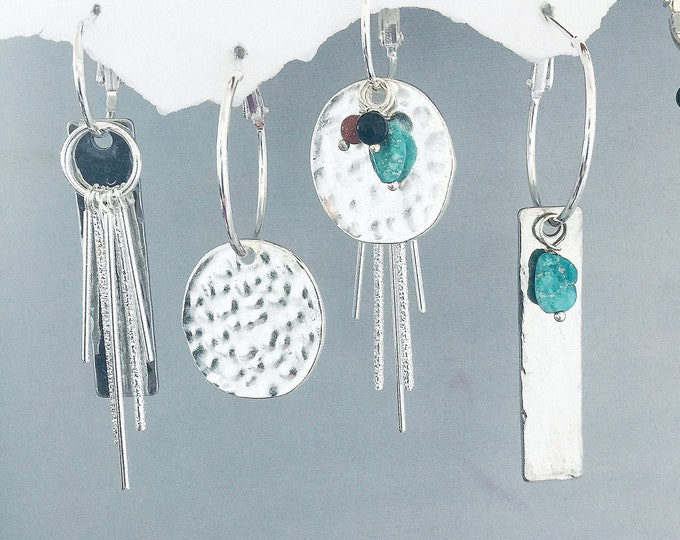 Boho Chic Earrings Set- Interchangeable, Silver, Hammered, charms, over 30 earrings