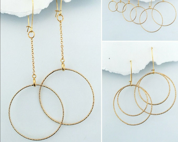 Gold Circles Earring Set- Interchangeable Gold and Rose Gold Drops create multiple earring designs