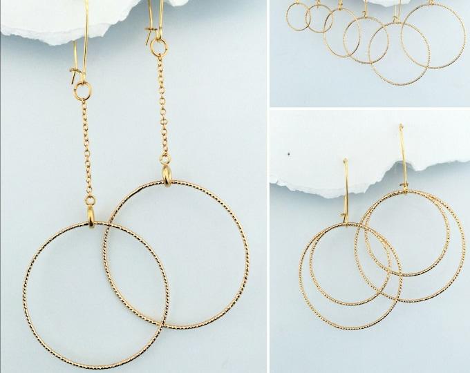 Gold Circles Earring Set- Interchangeable, Rose Gold, DIY earring designs