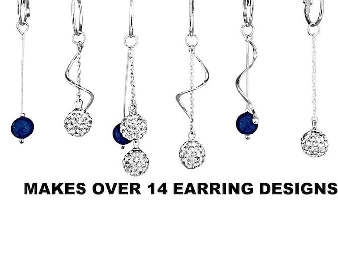 Sterling Twist Earrings Set - Silver, Interchangeable, dangle, dressy, 13 earring designs
