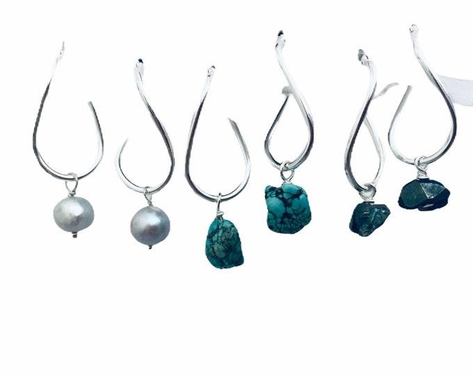 Gemstone Earrings Set- Interchangeable, Turquoise, Quartz, Pearls, 4 piece earring set