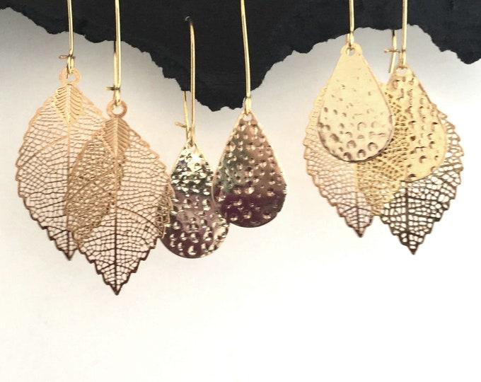 Gold Leaf Earrings -Interchangeable, Stocking Stuffer, Leaf, Hammered, Teardrop