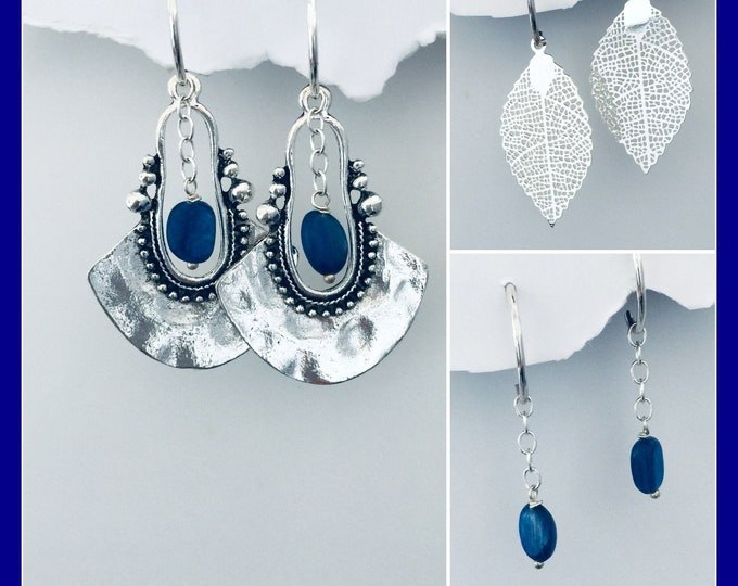 Boho Bold Earrings Set- Interchangeable Hammered silver, gemstones, 10 designs