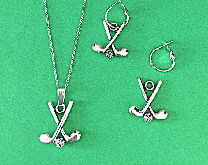 Golf Necklace Earring Set - Interchangeable Charms, Silver, Necklace, Earrings