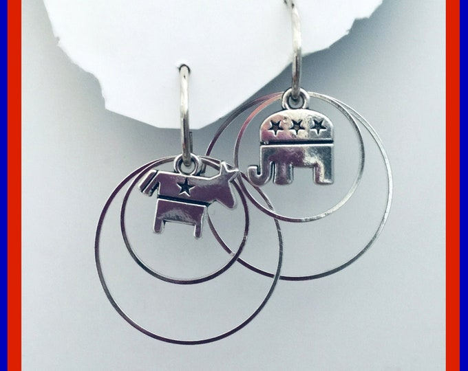Bipartisan Earrings set-Interchangeable political charms and earrings set