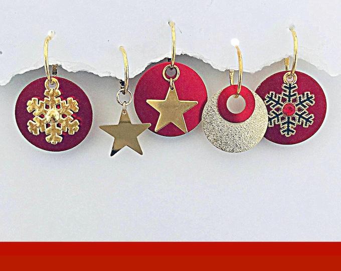 Christmas Earrings Gold-Interchangeable, Holiday, Mistletoe, Stars