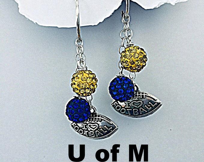 Michigan Earrings - U of M Football earrings, Maze and Blue, University of Michigan