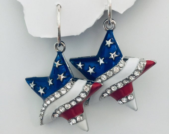 Flag Star Set - USA, Patriotic, Stars, Earrings, Necklace