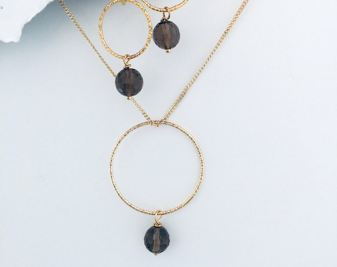 Topaz Necklace & Earrings Set | -Interchangeable, Golden Topaz Gemstones, 14K Gold Plated Circles