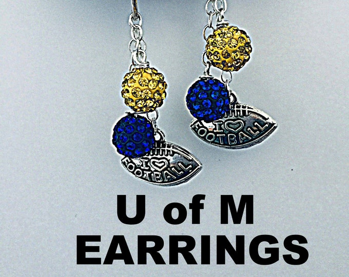 Michigan Earrings - U of M Football earrings, Maze and Blue, University of Michigan
