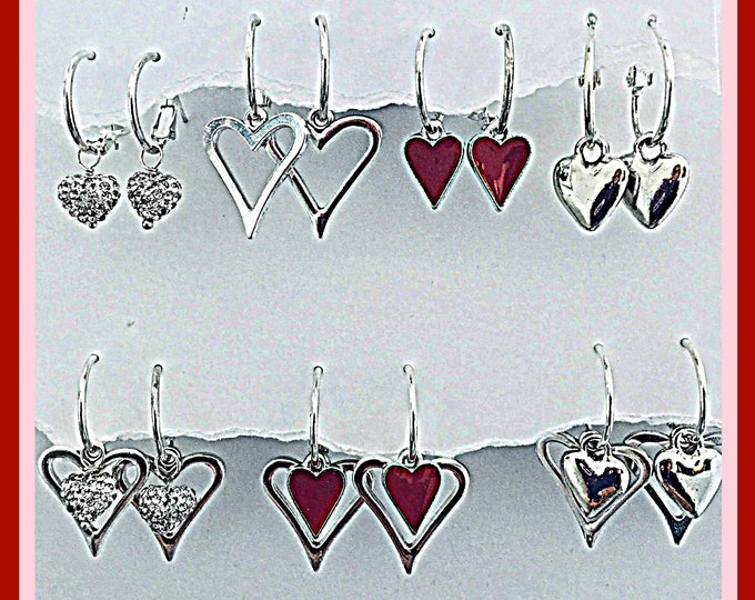 Valentines Earring Set-Interchangeable Valentine Hearts, bling, red, silver combine for various designs.