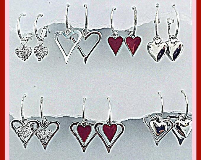 Silver Hearts Earrings- Interchangeable hearts, silver hearts, bling, silver earrings