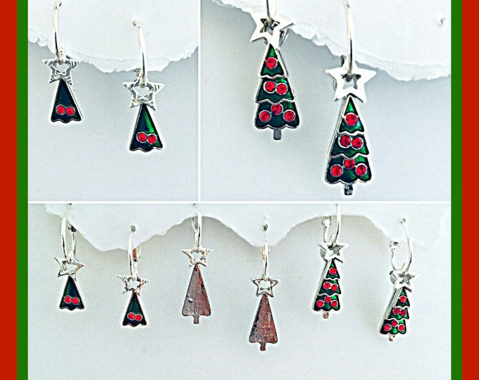 Christmas Tree Earrings-Interchangeable, Christmas, Star, Holiday Earrings