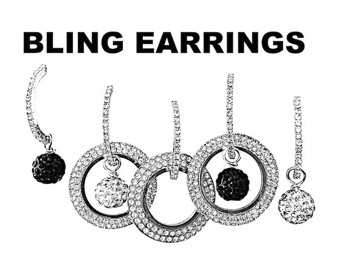 Bling Earrings Set- Sparkle earrings, rhinestone earrings, interchangeable