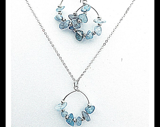 Aquamarine Necklace Set - Silver, Necklace & Earrings, Interchangeable, Aquamarine