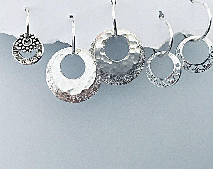 Classic Silver Earrings Set - Interchangeable, small, go-to-work, classy, 30 designs