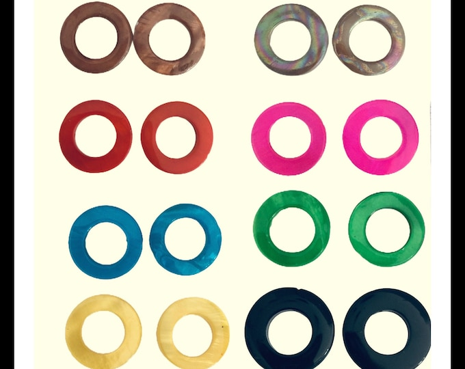 Circle Shell Charm Hoolas- 8 colors to  wear with hoops
