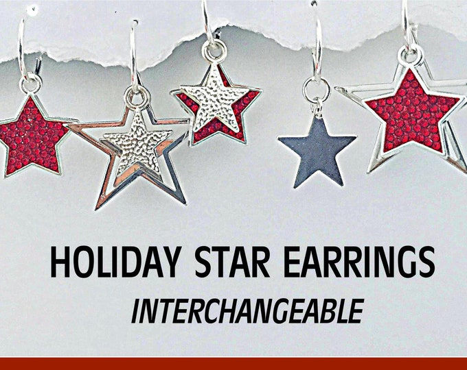 Christmas Star Earrings- Interchangeable, Holiday, Silver, Stars, Sparkle