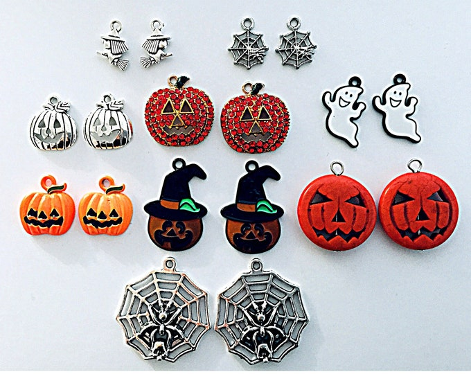 Halloween charms- Halloween, pumpkins, ghosts, witches slide on hoops for earrings