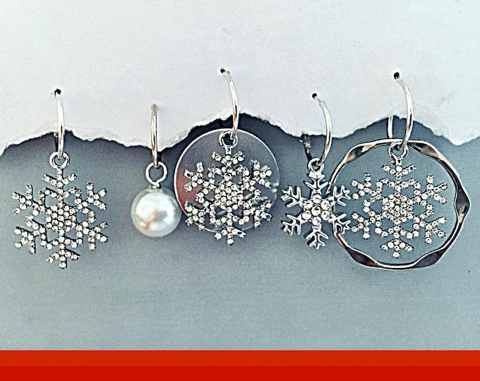 Christmas Snowflake Earrings-Holiday, Snowflakes, Snowball, Bling Earrings