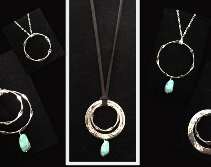 Urban Necklace Set-Turquoise, Hammered silver, Interchangeable