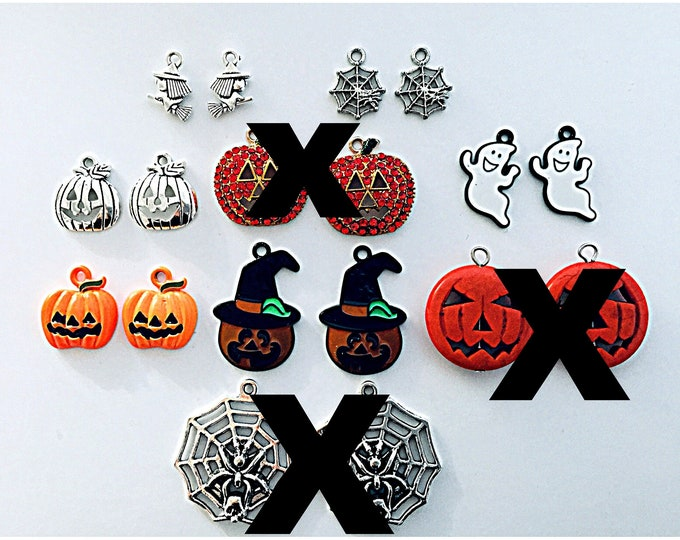 Halloween charms- Halloween earrings, pumpkins, ghosts, witches,slide on hoops for earrings