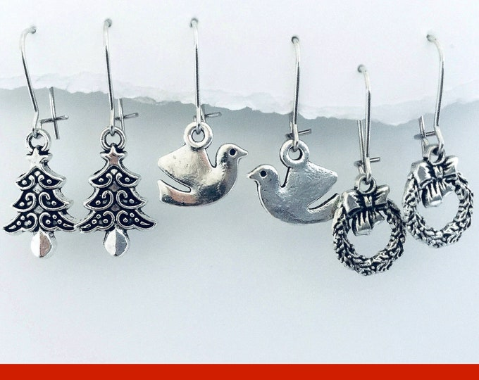 Christmas Earrings Silver - Small, Interchangeable, Black Friday, 3 pair set