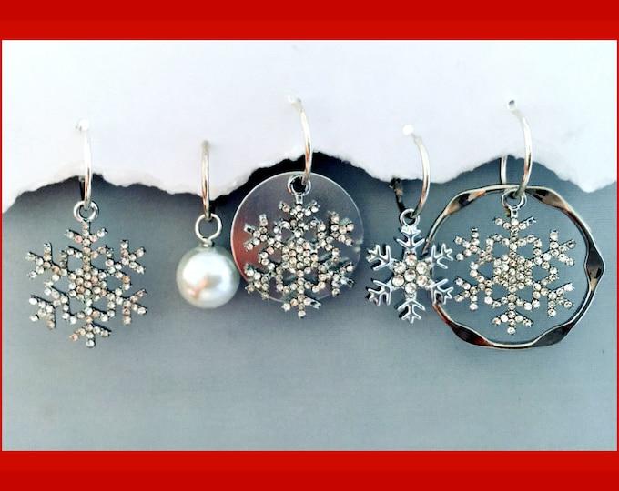 Christmas Earrings - Snowflake, Silver, Bling, Pearls
