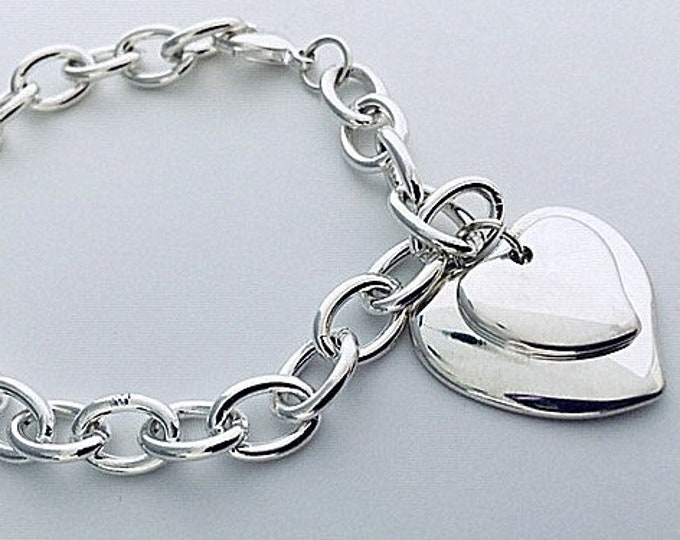 Silver Heart Bracelet- Large Silver Chain w 2 Heart Charms- 50% OFF Now