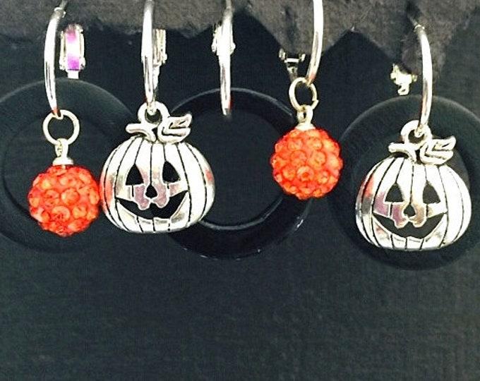 Halloween earrings, Halloween charms, Pumpkins, orange bling, black