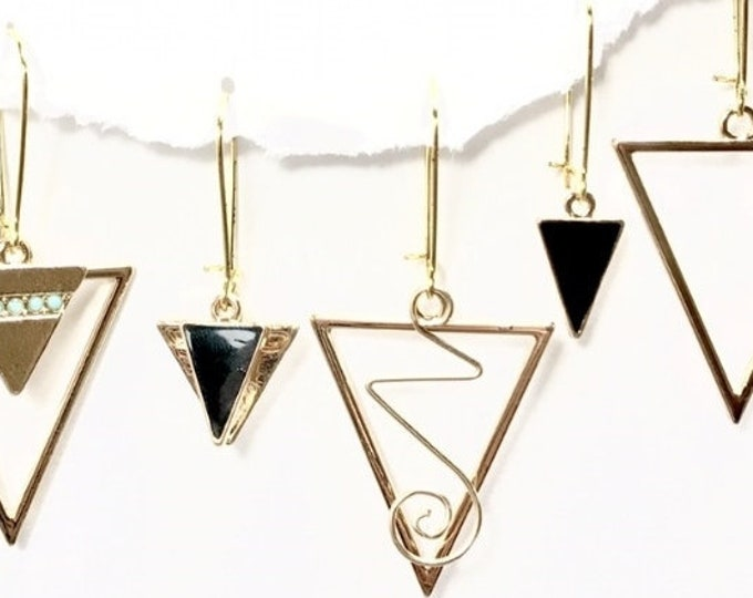 Gold Earring Set- Triangle, Minimalist, Contemporary, Interchangeable