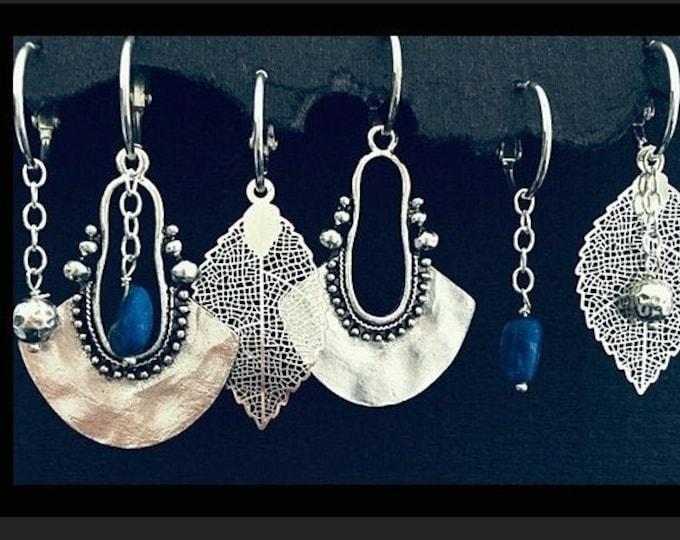 Boho Dangle Silver Earrings, Interchangeable Big Hammered Earrings  gemstones, Silver Dangle Earrings