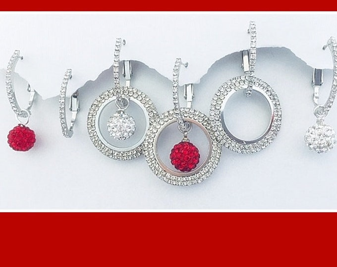 Christmas Earrings Silver Bling- Interchangeable, Sparkle, Bling earrings